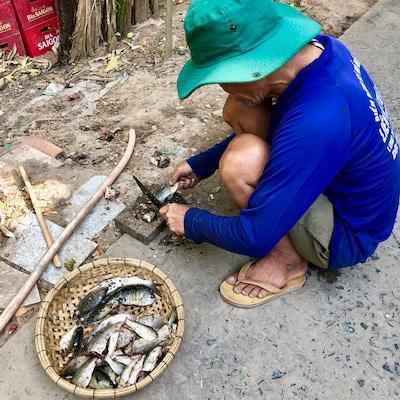 Mann renser fisk